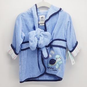 Just Born   Bath Robe with Booties   Blue